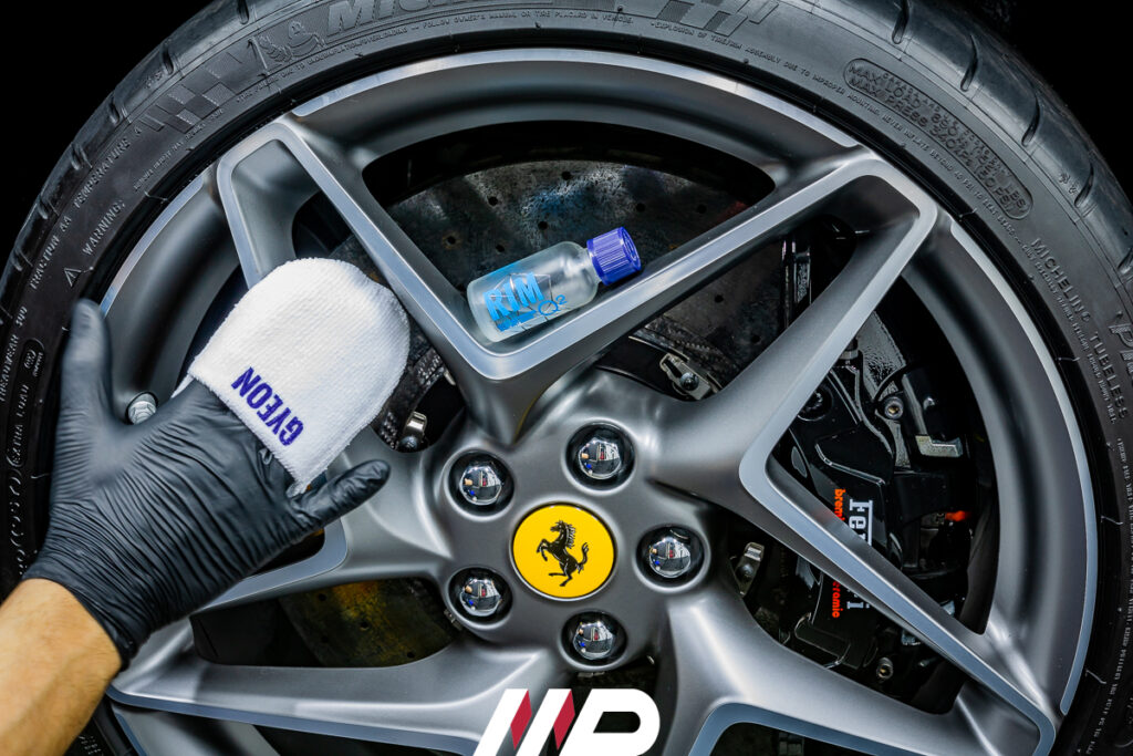 applicazione nanotecnologia cerchi auto gyeon rim su Ferrari F8 Tributo